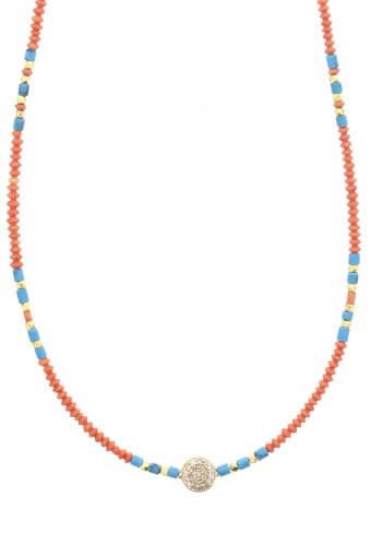 Jacquie Aiche / Collier or jaune corail et turquoise