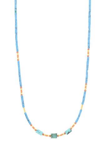 Jacquie Aiche / Long collier turquoise corail et or jaune
