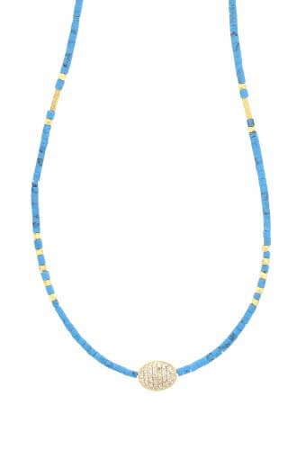 Jacquie Aiche / Collier turquoise et ovale diamant