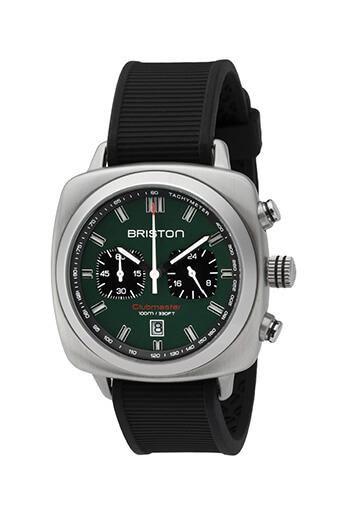 Briston / Clubmaster Sport Acier - Chronographe cadran vert anglais mat