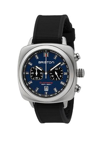 Briston / Clubmaster Sport Acier - Chronographe cadran bleu marine mat