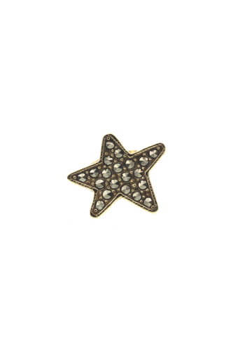 Feidt / Boucle d'oreille étoile or jaune et marcassite