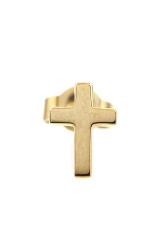 Feidt / Boucle puce croix simple en or jaune 9 carats