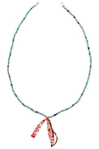 Chan Luu / Collier turquoise cuir et bandana