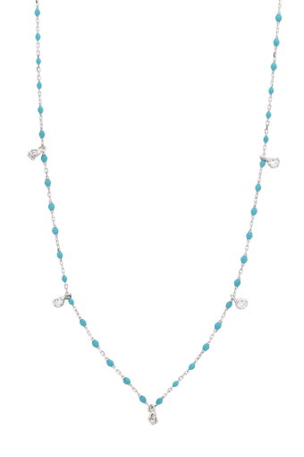 Gigi Clozeau / Collier or gris, perles de résine et 5 diamants