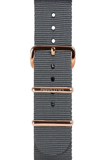 Briston / Bracelet spéciale NATO gris, boucle en acier or rose 245 mm