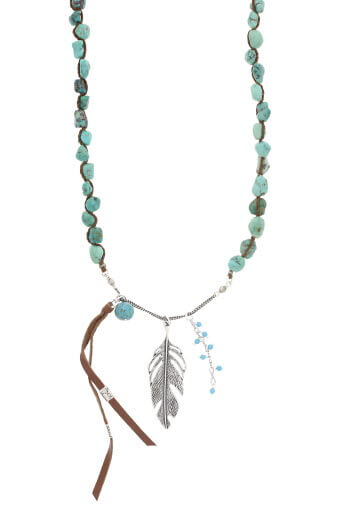 Chan Luu / Collier turquoise et plume argent