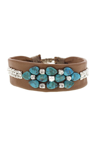 Chan Luu / Bracelet fleur turquoise
