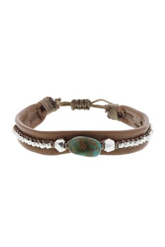 Chan Luu / Bracelet  cuir argent et turquoise