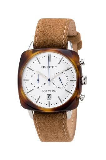 Briston / Clubmaster Vintage Acétate Chronographe écaille de tortue cadran blanc
