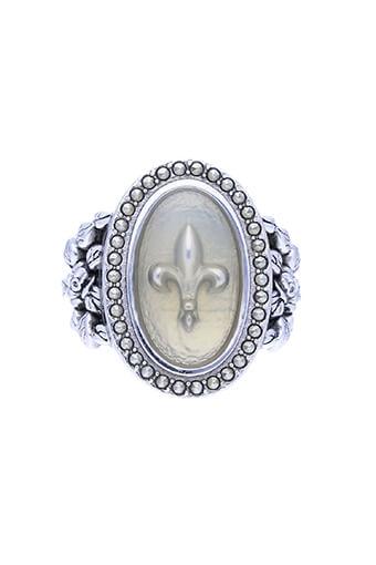 Feidt / Bague Fleur de Lys Or Blanc 9 carats Résine et Marcassites  T54