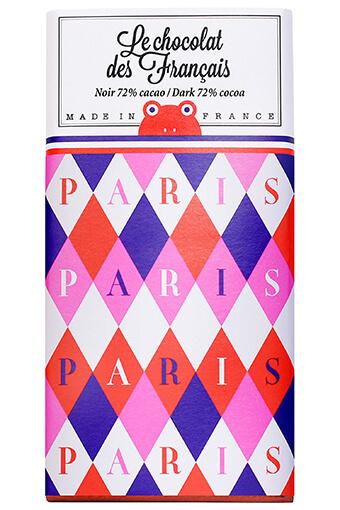 Le chocolat des Français / Tablette de chocolat noir Paris losanges roses 90g / 72% cacao