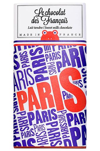 Le chocolat des Français / Tablette de chocolat au lait Paris bleu rouge 90g / 42% cacao