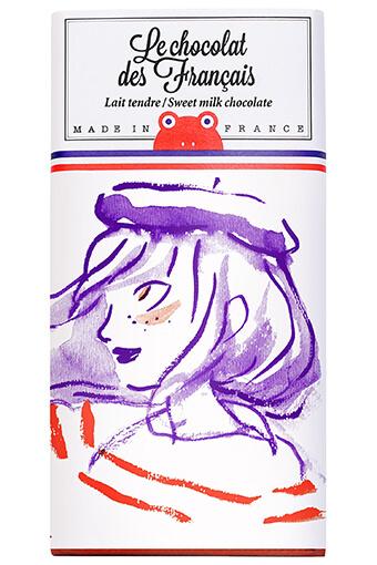 Le chocolat des Français / Tablette de chocolat au lait Marine béret 90g / 42% cacao
