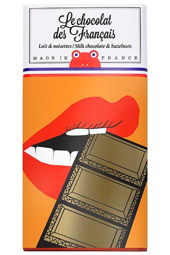 Le chocolat des Français / Tablette de chocolat au lait et noisettes Bouche croquante 90g / 42% cacao