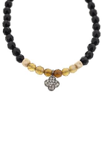 Catherine Michiels / Bracelet en Onyx et trèfle en argent