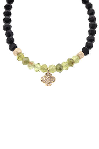 Catherine Michiels / Bracelet en Onyx et trèfle en or