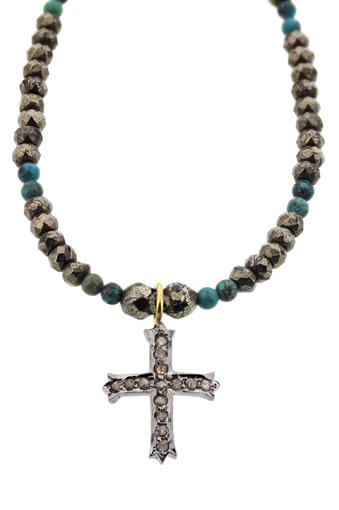 Catherine Michiels / Bracelet en pyrite, turquoise et croix