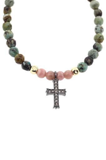 Catherine Michiels / Bracelet turquoise et rhodochrosite avec croix