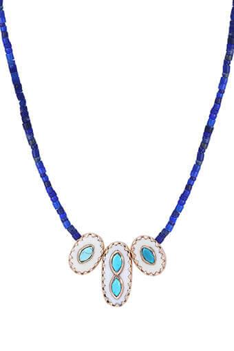 Pascale Monvoisin / Collier Montauk n°2 Lapiz lazuli os turquoise