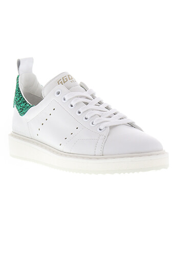 Golden Goose / Starter White leather green glitter