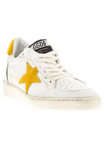 Golden Goose / Sneakers Ball Star white leather orange pony