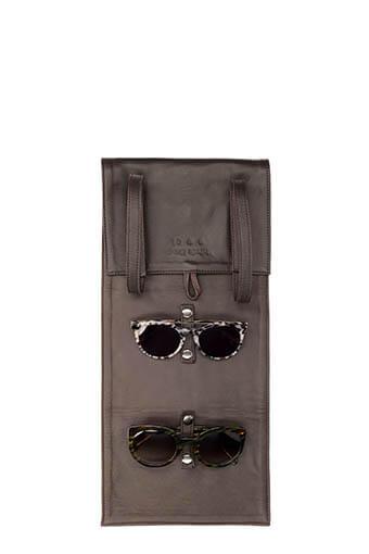 Nathalie Blanc / Etui de voyage en cuir pour 4 lunettes