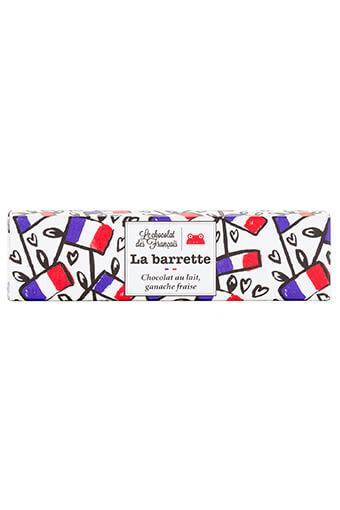 Le chocolat des Français / La barrette chocolat au lait, ganache fraise 40 grammes