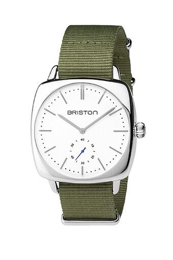 Briston / Clubmaster Vintage Acier - Petite seconde cadran blanc
