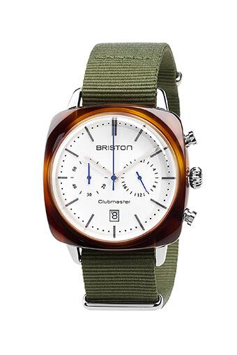 Briston / Clubmaster Vintage Acétate - Chronographe écaille de tortue cadran blanc