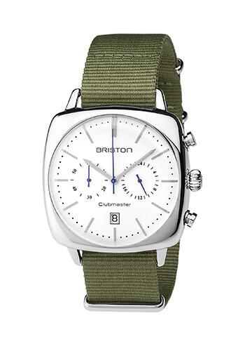 Briston / Clubmaster Vintage Acier - Chronographe cadran blanc