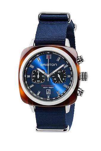 Briston / Clubmaster Sport Acétate - Chronographe écaille de tortue cadran bleu soleillé