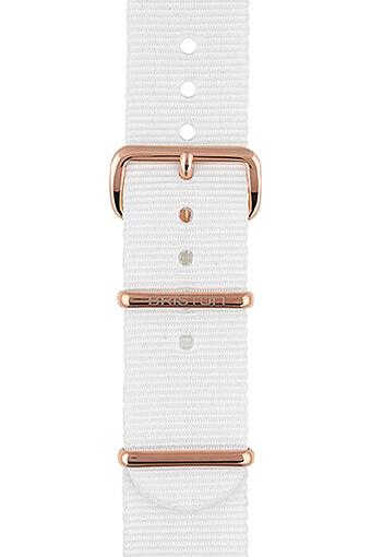 Briston / Bracelet spécial NATO blanc, boucle en acier or rose 245mm