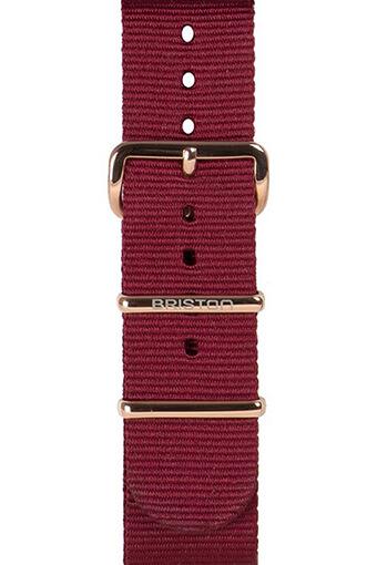 Briston / Bracelet spécial NATO bordeaux, boucle en acier or 245mm