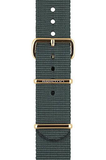Briston / Bracelet spécial NATO gris, boucle en acier or jaune 245mm