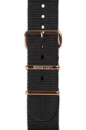 Briston / Bracelet type NATO noir, boucle or rose 230mm - Clubmaster Chic
