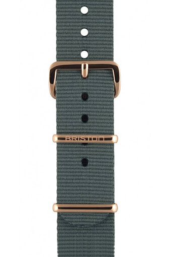 Briston / Bracelet type NATO gris, boucle or rose 230mm - Clubmaster Chic