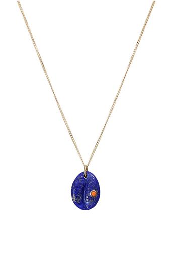 Pascale Monvoisin / Collier  Cauri Lapiz Lazuli serti corail n°2