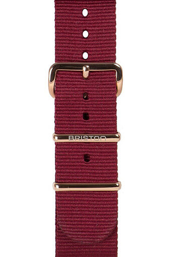 Briston / Bracelet type NATO bordeaux, boucle or rose 230mm - Clubmaster Chic