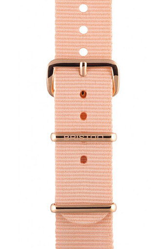 Briston / Bracelet type NATO rose poudré, boucle or rose 230mm - Clubmaster Chic