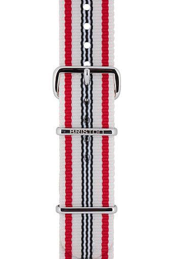 Briston / Bracelet type NATO rayé beige, rouge et bleu marine 280mm