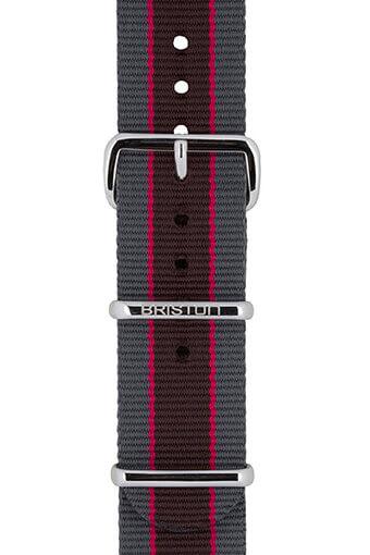 Briston / Bracelet spécial NATO rayé gris, rose et marron foncé 245mm