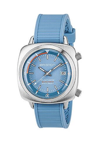 Briston / Montre Clubmaster Diver Auto Acier Brossé bleu clair