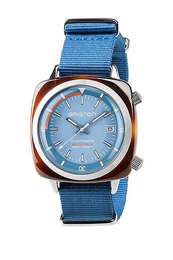 Briston / Montre Clubmaster Diver Auto Acétate cadran bleu clair