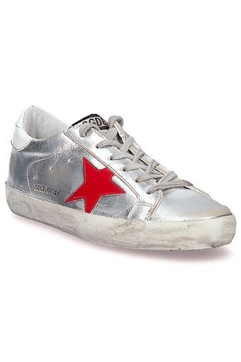 Golden Goose / Sneakers Superstar asymétrique, argent et étoile rouge et bleu