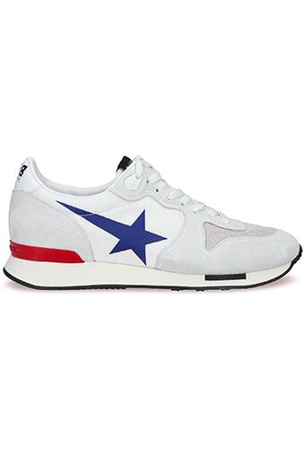 Golden Goose / Sneakers Running, daim blanc et étoile bleu