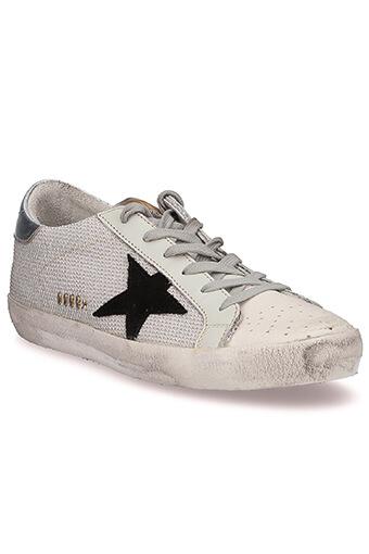 Golden Goose / Sneakers Superstar, Lurex argent et étoile en daim noir