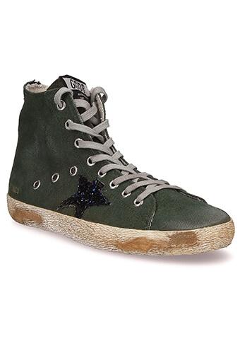 Golden Goose / Sneakers Francy, vert militaire et étoile de paillettes