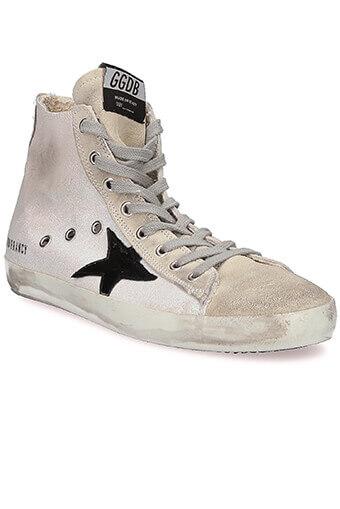 Golden Goose / Sneakers Francy, blanc argenté et étoile en cuir noir