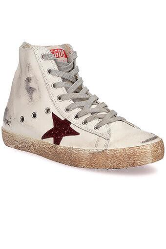 Golden Goose / Sneakers Francy, crème et étoile de paillettes rouges